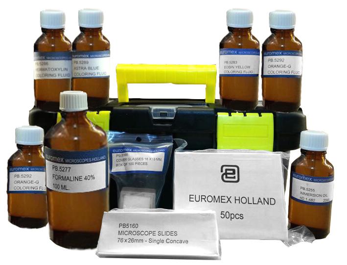 un kit completo de tintes, folorantes y fijacion de microscopia para poder preparar sus propias preparaciones.