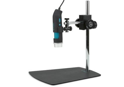 Base con brazo articulado con posicionador 3D  y mandos de enfoque para microscopio digital USB q-scope